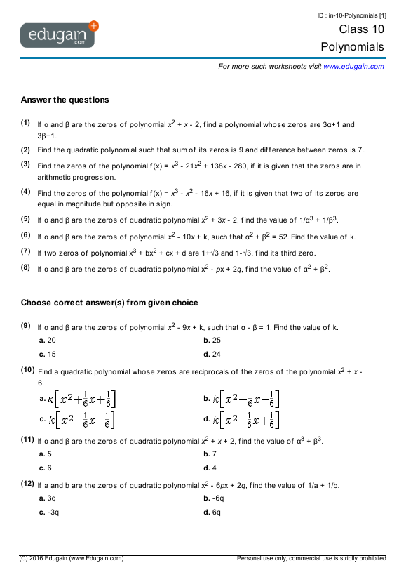 Grade 10 Math Worksheets and Problems Polynomials – Grade 10 Math Worksheets