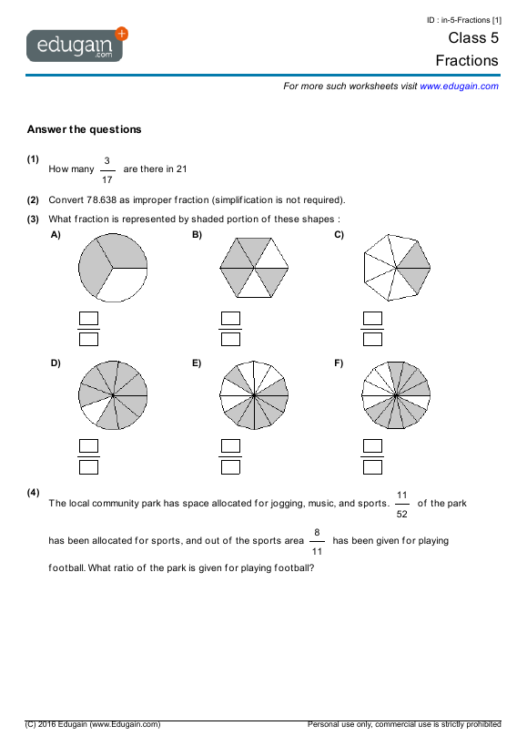 Grade 5 Math Worksheets and Problems Fractions – Grade 5 Maths Worksheets