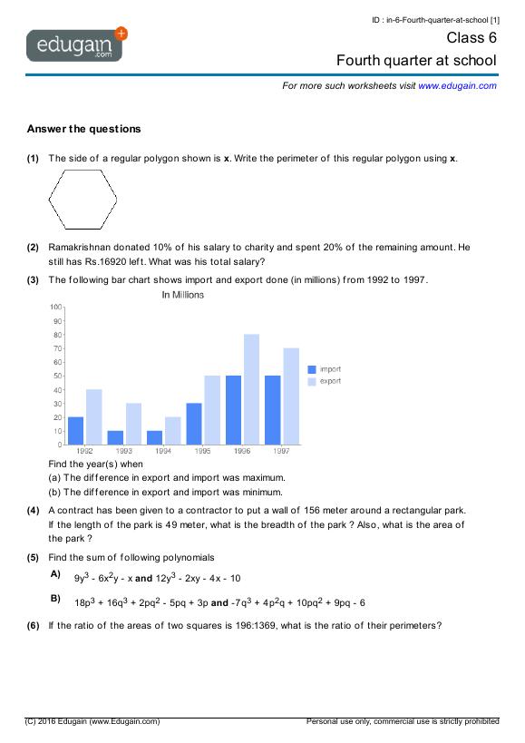 math worksheet : grade 6 math worksheets and problems fourth quarter at school  : Gr 6 Math Worksheets
