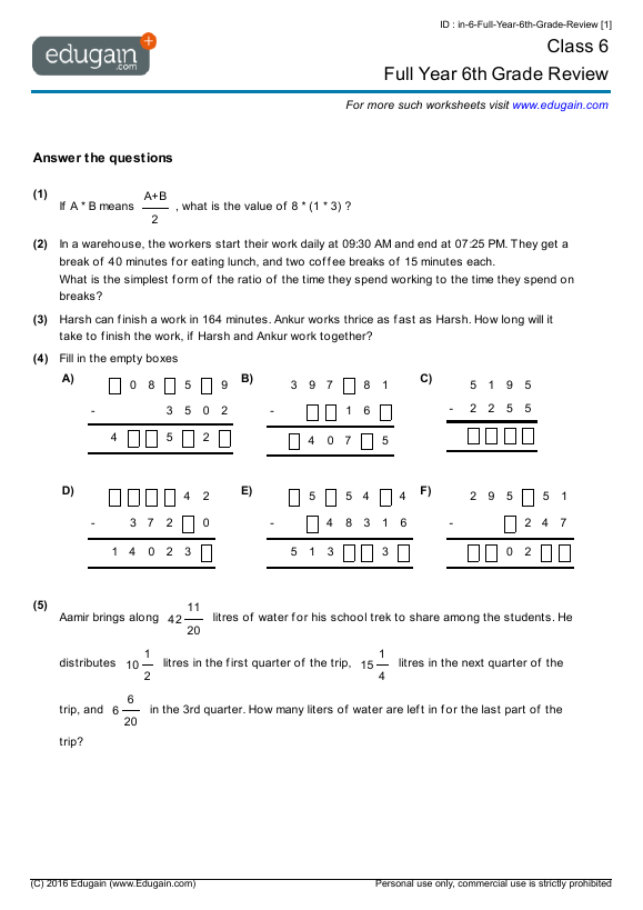 Grade 6 Math Worksheets Bc Worksheet Templates – Grade 6 Math Practice Worksheets