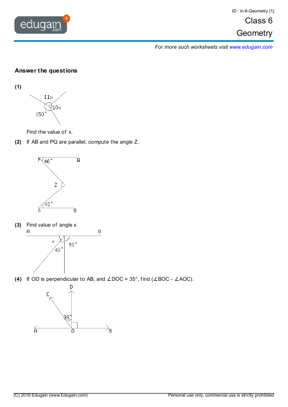 Grade 6 Math Worksheets and Problems Geometry – Math Worksheets for Grade 6