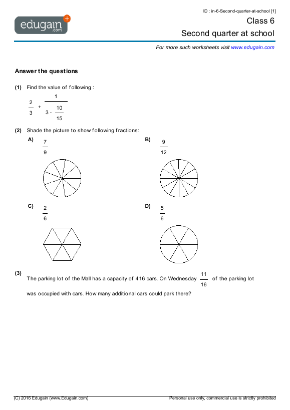 Grade 6 Math Worksheets and Problems Second quarter at school – Grade 6 Math Worksheets