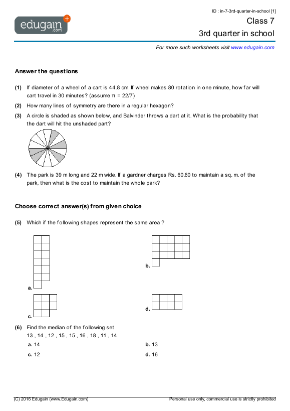 Grade 7 Math Worksheets and Problems 3rd quarter in school – Math Worksheets for Grade 7 with Answer