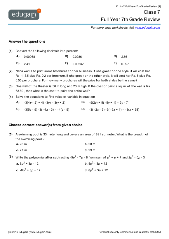 Grade 7 Math Worksheets and Problems Full Year 7th Grade Review – Math Integers Worksheets Grade 7
