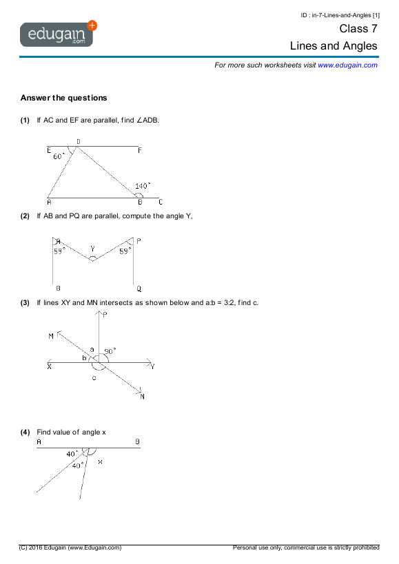 math worksheet : grade 7 math worksheets and problems lines and angles  edugain  : Math Worksheet For Grade 7