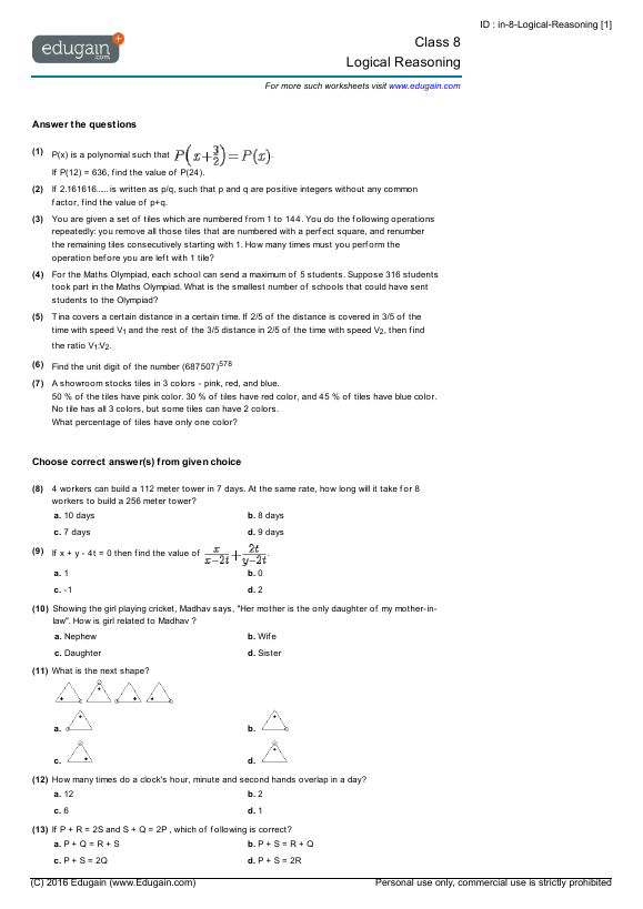 Grade 8 Math Worksheets and Problems Logical Reasoning – Grade 8 Math Worksheets