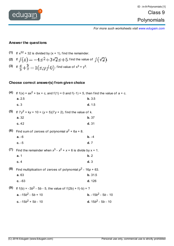 {Grade 9 Math Worksheets and Problems Polynomials – Grade 9 Math Worksheet